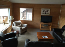 Moose cabin, living room, Dutch Lake Resort, Clearwater, BC, Wells Gray Park